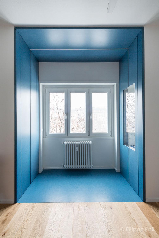 qanta camera da letto in valcromat blu